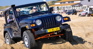 Four Wheel Drives in a beach pitfall. Driving on the course in the soft sand isn't easy, other drivers will help to get them going again.  ANVT 4WD Beach Event - an annual Four Wheel Drive Beach event where these types of vehicles are allowed on the beach. There is a nice trail on the beach with many holes and hills in the soft sand. A unique opportunity to practice driving skills in the lowest gear on the beach