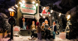 Christmas Village decoration, in Holland made by Lemax. Very popular and there is a wide variety of objects for sale. The shops use huge displays to attract customers